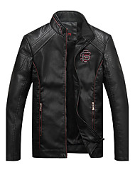 Men's Daily Casual Vintage Fashion Fall Winter Leather Jacket,Solid Stand Long Sleeve Regular PU
