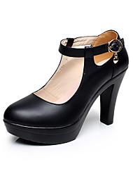 Feminino Saltos Sapatos formais Couro Primavera Outono Sapatos formais Salto Grosso Branco Preto 12 cm ou mais