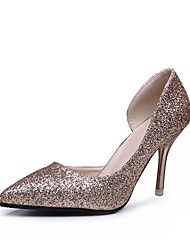 Women's Heels Formal Shoes Leatherette Summer Wedding Office & Career Party & Evening Formal Shoes Sequin Stiletto Heel Silver Black Gold