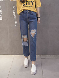 Women's High Waist Micro-elastic Jeans Pants,Simple Relaxed Solid