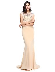 Sirène / trompette en scoop cou train en train robe de soirée en polyester avec perles