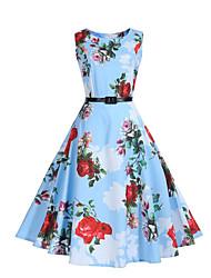 Mujer Vaina Corte Swing Vestido Fiesta Casual/Diario Noche Vintage Chic de Calle,Floral Escote Redondo Hasta la Rodilla Sin Mangas