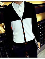 Standard Cardigan Da uomo-Quotidiano Casual Semplice Monocolore A V Manica lunga Cotone Maglia Primavera Estate Sottile Medio spessore