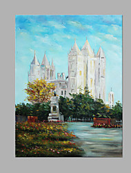 IARTS® Modern Abstract Oil Painting European City Church Picture with Stretched Frame Handmade Oil Painting For Home Decoration Ready To Hang