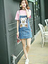 Mujer Simple Casual Verano T-Shirt Vestidos Trajes,Escote Redondo Patrón Manga Corta Microelástico