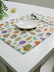 Insulation Owl Cotton And Linen Material Table Cloth 32*45cm