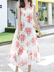 Balançoire Robe Femme Sortie Mignon,Fleur Col Arrondi Maxi Sans Manches Polyester Eté Taille Normale Micro-élastique Fin