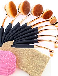 10PCS Pro Fashion Makeup Brushes Synthetic Hair Rose Gold Oval Toothbrush Shape Cosmetics Brushes Tools Set with 1 Bag&1 Silicone Brush Cleansing Pad