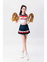 Cheerleader Costumes Outfits Women's Performance Polyester Crystals/Rhinestones Pattern/Print Splicing 2 Pieces Sleeveless NaturalSkirts