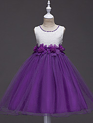 A-line Knee Length Flower Girl Dress - Lace Tulle Jewel with Flower(s) Pearl Detailing