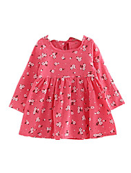 Girl's Print Dress,Cotton Acrylic Fall Winter Long Sleeve