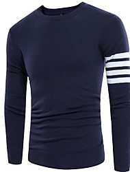 Men's Casual/Daily Regular Pullover,Striped Round Neck Long Sleeve Cotton Fall Winter Medium Micro-elastic