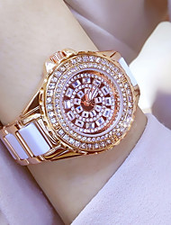 Women's Dress Watch Fashion Pave Watch Wrist Bracelet Watch Unique Creative Watch Casual Watch Simulated Diamond Watch Rose Gold Watch