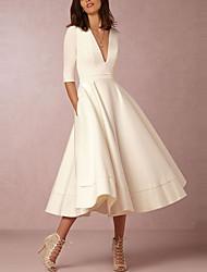 Для женщин На выход Секси Простое Уличный стиль Оболочка С летящей юбкой Платье Однотонный,Глубокий V-образный вырез Средней длины Рукав