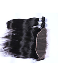 2 Bundles 200g Natural Black Straight Brazilian Remy Hair Wefts with 1Pcs Free Part 13x4  Ear To Ear Lace Frontal Closures Human Hair Extensions