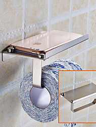 2PCS Toilet Paper Holder Stainless Steel Storage Bathroom Kitchen Paper Towel Dispenser Tissue Roll Hanger Wall Mount with Phone Shelf