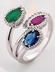 Ring Settings Ring  Luxury Elegant Noble Zircon Women's Leaf Multicolor Rhinestone Euramerican Fashion Birthday Wedding Movie Gift Jewelry