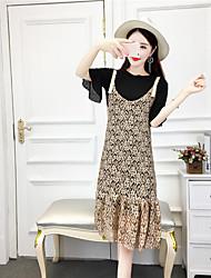 Manches Ajustées Robes Costumes Femme,Couleur Pleine Grille / Carreaux Texturé Bureau/Carrière Quotidien DécontractéAvec motifs