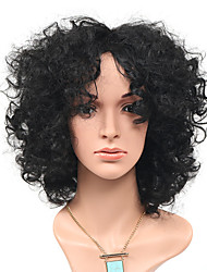 Fashion Afro Loose Black Natural Wig Side Bang for Women Costume Wig Cosplay Synthetic Wigs