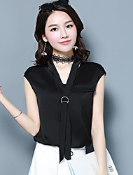 Women's Daily Casual Simple Blouse,Solid V Neck Sleeveless Polyester