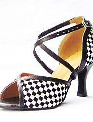 Для женщин Латина Искусственная кожа Сандалии Концертная обувь Крест-накрест На шпильке Черный 7,5 - 9,5 см Персонализируемая