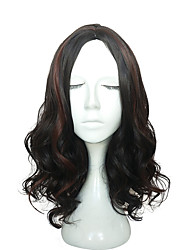 Long Water Wavy Synthetic Wig Mid-Part Bangs Women Wig