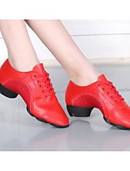 Women's Latin Oxford Fabric Flats Heels Practice Ruby Black White