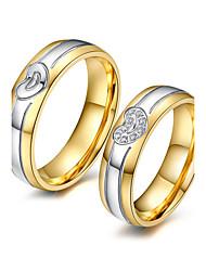 Casal Anéis de Casal Zircônia cúbica Moda Adorável Elegant Zircônia Cubica Aço Titânio 18K ouro Forma Redonda Jóias ParaCasamento Festa