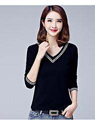 Damen Gestreift Einfach Normal T-shirt,V-Ausschnitt Frühling Langarm Baumwolle