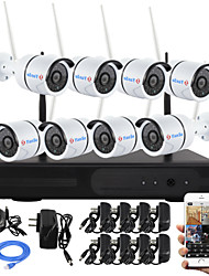 Ianse® 8ch wireless nvr kits p2p 960p impermeável hd ir visão noturna ip camera wifi cctv system 1.3mp 3.6mm