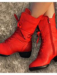 Feminino Botas de Dança Pele Real Pele Sapatilhas Saltos Ensaio/Prática Preto Vermelho Escuro Vermelho
