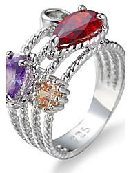 Ring Settings Ring  Luxury Elegant Noble Zircon Women's Oval Leaf Multicolor Rhinestone Euramerican Fashion Birthday Wedding Movie Gift Jewelry