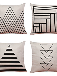 Set of 4 Simple Geometry Pattern  Linen Pillowcase Sofa Home Decor Cushion Cover(18*18)