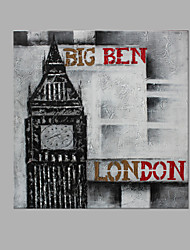 IARTS® Abstract Modern London Big Ben in Grey & Red Letters Handmade Oil Painting On Canvas with Stretched Frame Wall Art For Home Decoration Ready To