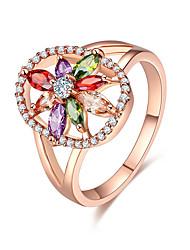 Damen Ring Multi-Stein Kubikzirkonia nette Art Elegant Kubikzirkonia Blumenform Schmuck Für Hochzeit Party Verlobung Zeremonie