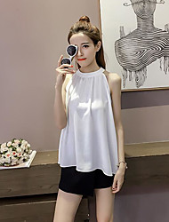 Women's Going out Street chic Blouse,Solid Halter Sleeveless Others