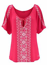 Tee-shirt Femme,Imprimés Photos Décontracté Chic de Rue Eté Manches Courtes Col Arrondi Mélange polyester/coton Moyen