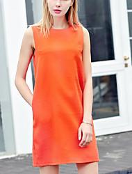 Damen Tunika Kleid-Lässig/Alltäglich Einfach Solide Rundhalsausschnitt Übers Knie Ärmellos Polyester Andere Sommer Hohe Hüfthöhe