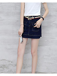 Women's Mid Rise Micro-elastic Jeans Shorts Pants,Simple Wide Leg Solid