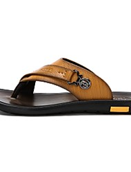 Camel Men's Slippers & Flip-Flops Comfort Cowhide Summer Casual Comfort Sandals Shoes Color Blue/Yellow