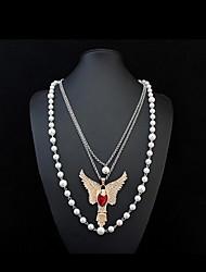Mulheres Colares com Pendentes Colares em Corrente colares em camadas Imitação de Diamante Formato AnimalImitação de Pérola Gema Vidro