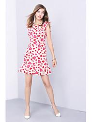 Feminino Bainha Sereia Vestido,Para Noite Casual Fofo Estampado Decote Redondo Acima do Joelho Manga Curta Poliéster Primavera Verão