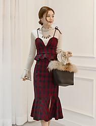 Women's Going out Bodycon Dress,Polka Dot Shirt Collar Knee-length Long Sleeve Cotton Summer Low Rise Micro-elastic Medium