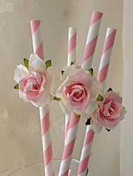 6Pcs/Set   Drinking Paper Straws Rose Flower Design For Birthday Wedding Party Decoration