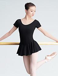 Ballet Leotardos Mujer Entrenamiento Algodón 1 Pieza Mangas cortas Cintura Alta Leotardo
