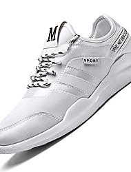 Men's Sneakers Comfort Light Soles Net Summer Fall Athletic Casual Comfort Light Soles Lace-up Flat Heel Light Grey Black Flat