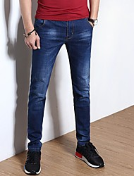Men's Mid Rise Micro-elastic Straight Jeans Pants,Chinoiserie Straight Knitting Solid