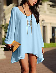 Women's Casual/Daily Simple Loose Dress,Solid Deep V Mini Long Sleeves Polyester Summer Mid Rise Inelastic Thin