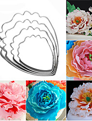 4pcs/set Fondant Cake Decoration Floral Petal Petals Cutter Flower Mold Peony Stainless Steel Cake Decorating Tools