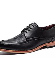 Для мужчин обувь Полиуретан Весна Осень Формальная обувь Туфли на шнуровке Шнуровка Назначение Повседневные Черный Коричневый Вино